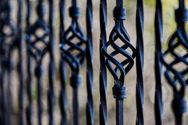 Black metal decorative fence